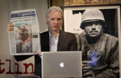 Caption: Wikileaks founder Julian Assange speaks on the July 2010 release of the Afghanistan War logs, Credit: NowPublic