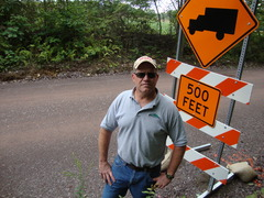 Caption: Tim Ziegler on the new, improved Marcellus Shale drilling road., Credit: Emily Reddy