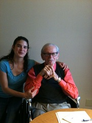Caption: Norman Corwin with producer Katy Sewall, Credit: Corwin's staff