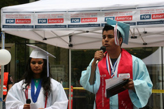 Caption: Carlos Padilla at a rally for the DREAM act