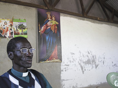 Caption: A pastor at a Southern Sudanese church in a refugee camp in Kenya., Credit: Becky Palmstrom