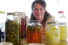 Caption: Tara Kelly with an assortment of her fermented foods., Credit: Guy Hand