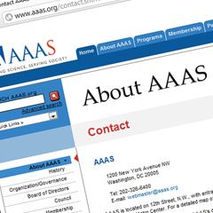Caption: The AAAS website, Credit: AAAS.org