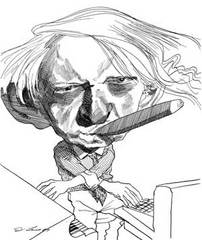 Caption: Anthony Burgess by David Levine, from The New York Review of Books