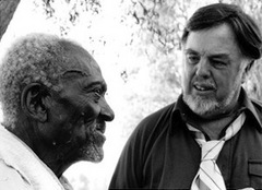 Caption: Alan Lomax with unidentified man. [Library of Congress photo]