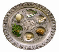 Caption: A traditional Seder plate