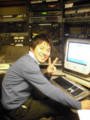 Caption: Shinji Ishikawa as intern at Blunt Youth Radio