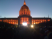 Caption: Civic Center in orange lights for World Series, Credit: Martina Castro