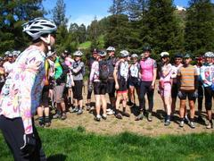 Caption: Extreme cyclists gather before the race, Credit: Dara Kerr