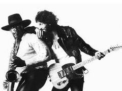 Caption: Clarence Clemons (left) with Bruce Springsteen From Born To Run Album Jacket