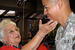 Caption: Constance Carman says goodbye to a soldier., Credit: Julia Barton