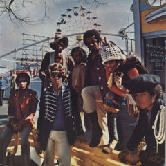 "Caption: (Left to right): Dennis Burke, Keni Burke, Jerome Bailey, Alohe Burke, Clarence Burke, Sr. , Clarence Burke, Jr., James Burke III , Credit: Buddah Records 1971 album ""The Stairsteps"""