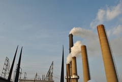 Caption: Smokestacks rise above Louisville Gas & Electric's Cane Run Power Station in southwest Louisville, Credit: Erica Peterson