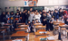Caption: Japanese students pose with their American teacher (back, center), a member of the JET Program. 