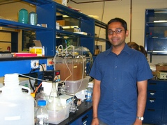 Caption: Kartik Chandran at his Columbia University lab
