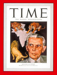 "Caption: ""MOHAMED ALI JINNAH: His Moslem tiger wants to eat the Hindu cow"" [April 1946]"