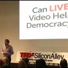 Caption: Livestream CEO Max Haot during a TEDX Talk in November, 2011, Credit: Photo: TEDX/Screenshot