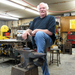 Caption: Bob Jordan with his anvil, Credit: JP Davidson