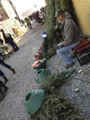 Caption: A Christmas tree seller, Credit: Gabe Bullard