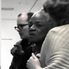 Caption: Thom Collins, Faith Ringgold and Tracy Fitzpatrick
