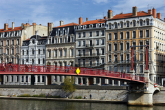 Caption: Lyon, Red Bridge