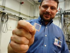 Caption: Joseph Orgel holds his sample of T. rex tissue. , Credit: (WBEZ/Michael De Bonis)