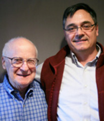 Caption: David Plant (L) with his stepson, Frank Lilley (R)