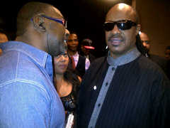Caption: Steve & Stevie Wonder, Credit: Sheree Edwards