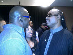 Caption: Steve Edwards & Stevie Wonder, Credit: Sheree Edwards