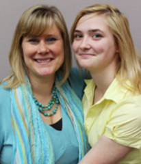 Caption: Kate Musick (L) with her former student Harleé Patrick (R)