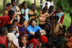 Caption: Pau Gasol, the NBA star and UNICEF Goodwill ambassador playing with Ethiopian children in the communities where UNICEF supports education, health and protection programs., Credit: ©UNICEF Etiopía/Bilbo/2010/Fernández