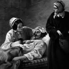 Caption: Florence Nightingale helps a sick man, Credit: unknown