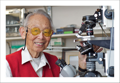 Caption: Dr. Inoue and his &quot;Shinya Scope&quot;. , Credit: Photo by Chris Inoue