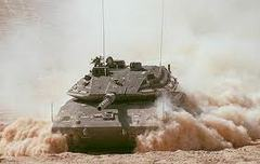 Caption: Israeli Merkava IV tank during Yom Kippur War, 1973
