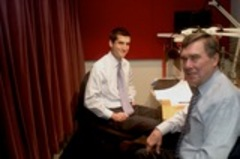 Caption: David Onek and Gil Kerlikowske in studio.
