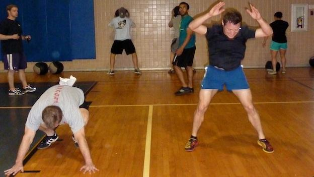 Caption: Burpees in motion , Credit: Emily Friedman