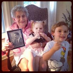 Caption: Great Grandma Bea with Henry and Juliet, Credit: Jeff Slater