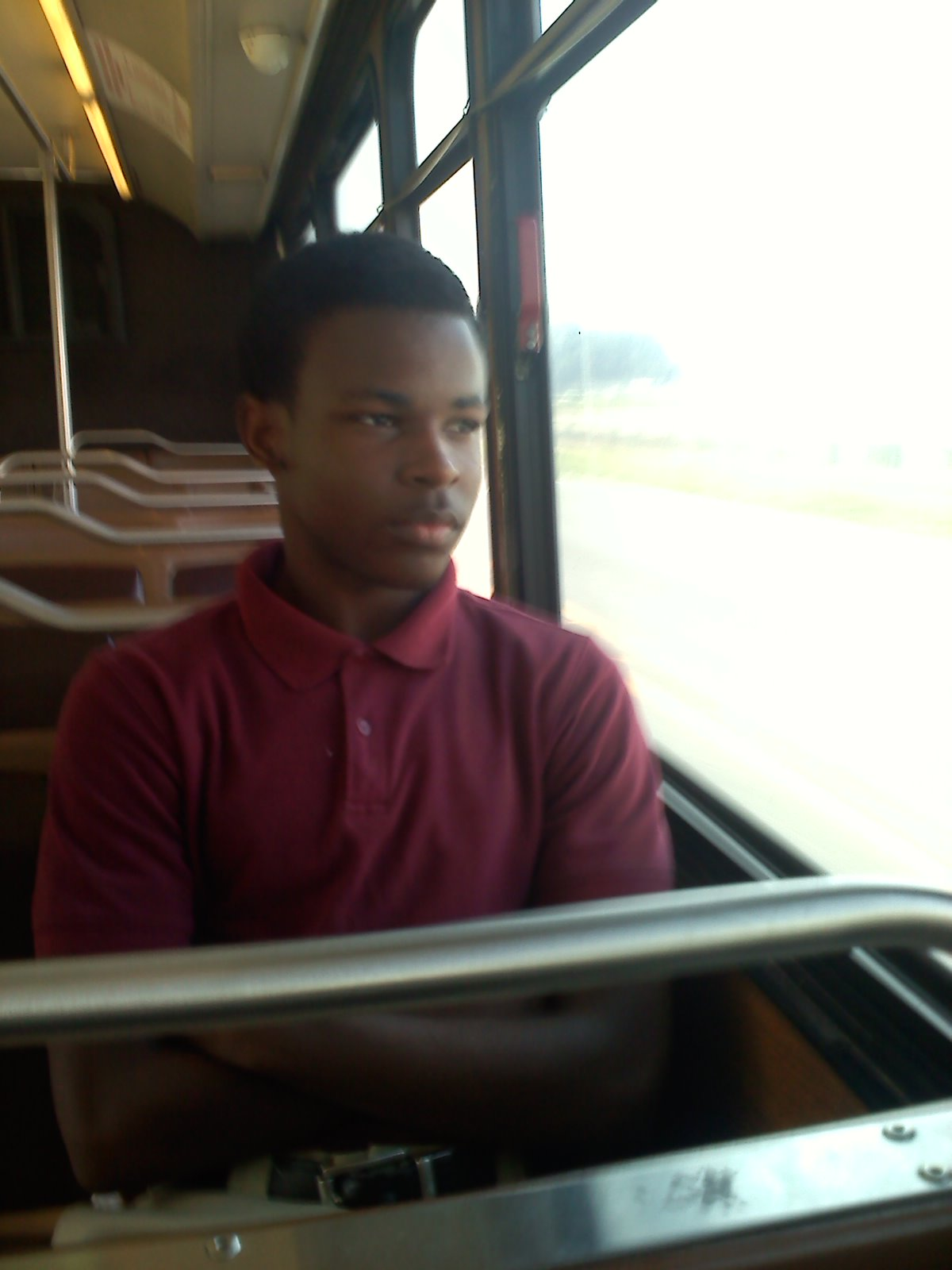 Caption: Kyriakus Matthews rides the bus home after school every day. , Credit: Tegan Wendland