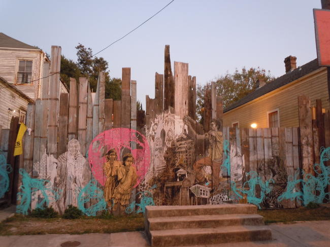 Caption: The entrance to the Shantytown Music Box, designed by Swoon. , Credit: Tegan Wendland
