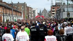 Caption: Runners line up at the start of the Great Limerick Run 2012
