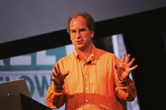 Caption: Brewster Kahle at Free Bitflows Conference, Credit: http://future-nonstop.org