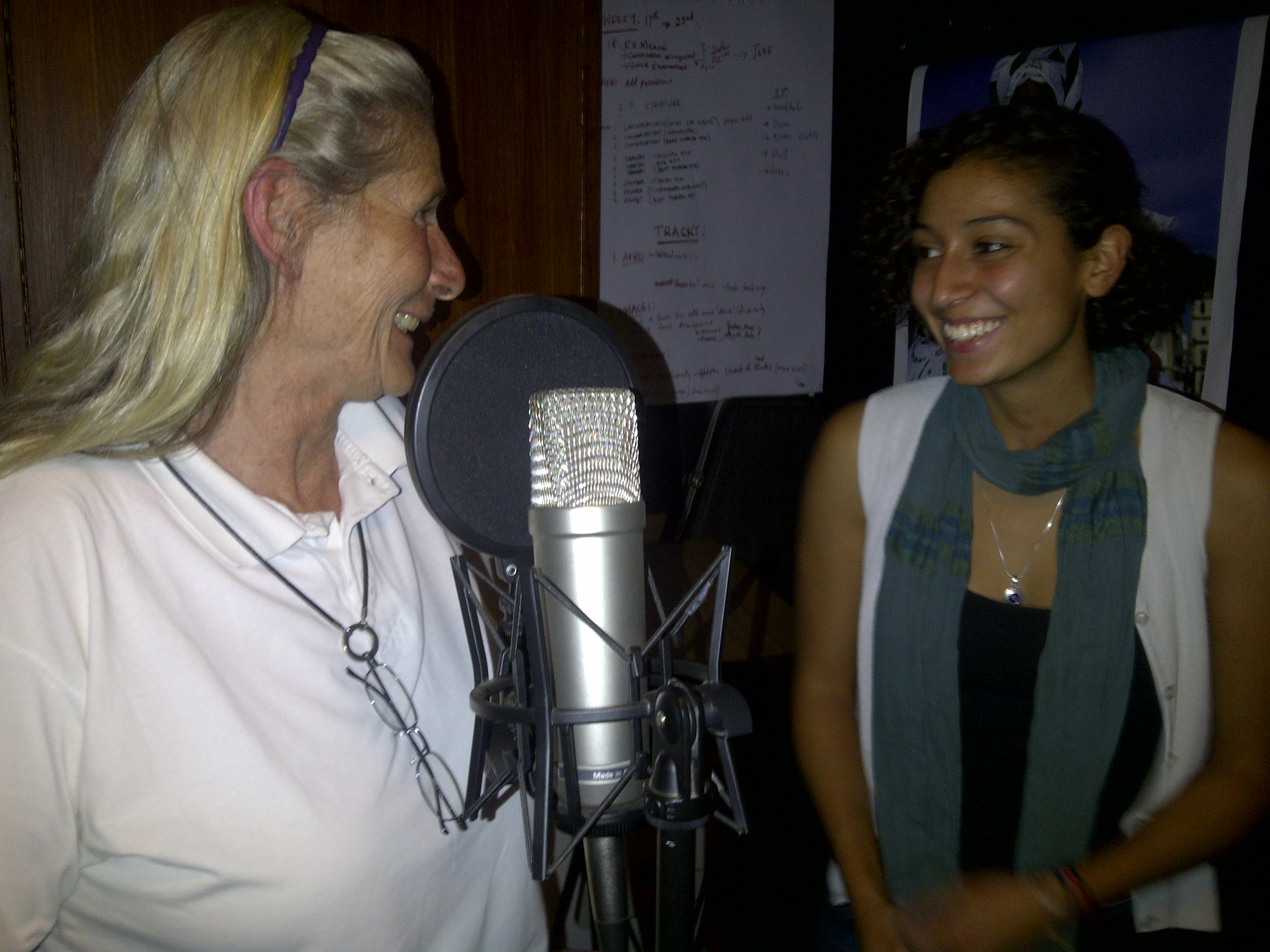 Caption: Annie Olivecrona in recording studio with Elleni Stephanou, Credit: Paula Kahumbu