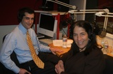 Caption: David Onek and Sunny Schwartz in studio.