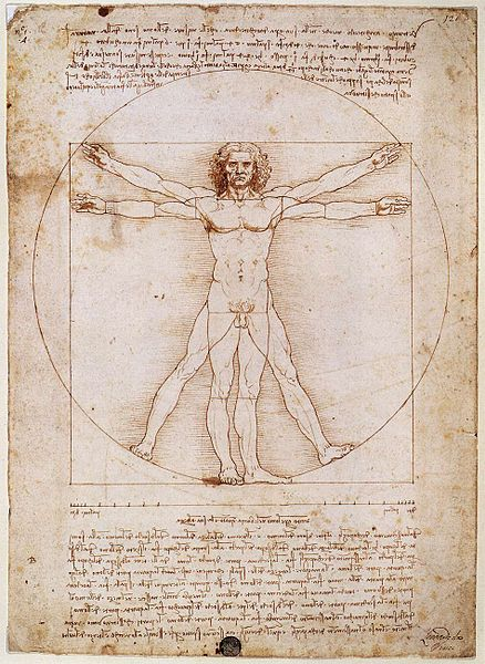 "Caption: ""Vitruvian Man"" by Leonardo da Vinci., Credit: via Wikimedia Commons/Leonardo da Vinci, Galleria dell' Accademia, Venice (1485-90)"