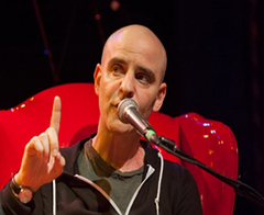 Caption: Humorist & Author David Rakoff, Credit: Jennie Baker for Live Wire!