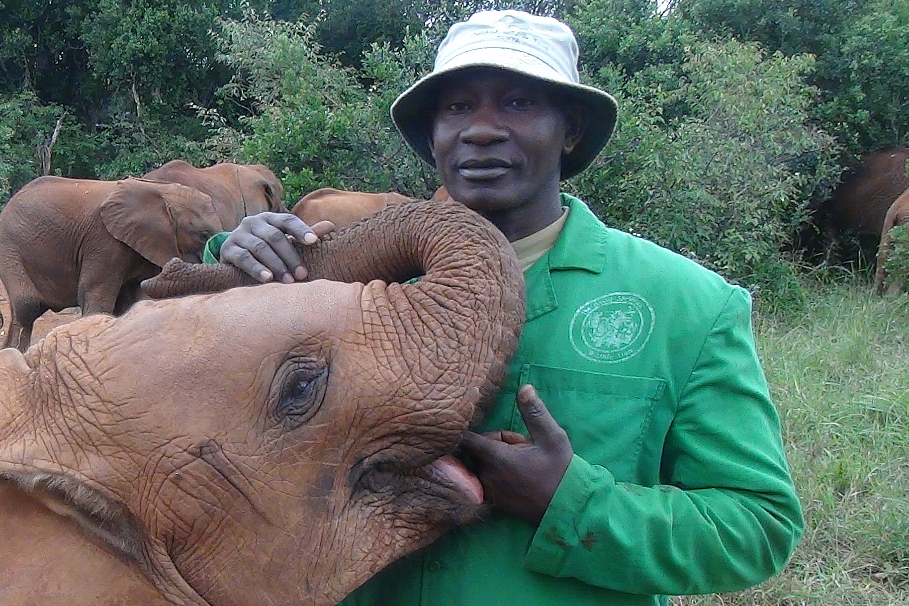 Caption: Mishak with one of his babies, Credit: Paula Kahumbu