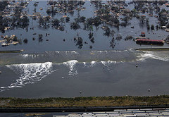 Caption: Levees are made to prevent land from flooding and rivers from overflowing, but they are not built to resist strong hurricanes like Katrina. Settlements in areas that are liable to storms and flooding often lead to avoidable damage or death.  , Credit: Reuters