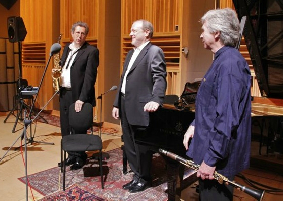 Caption: (L to R) Kenneth Radnofsky; Marc-André Hamelin; Richard Stoltzman , Credit: Melinda Gordon