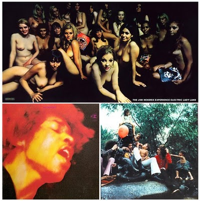 Caption: Electric Ladyland covers: UK (top), US (lower left), Linda Eastman photo that Hendrix wanted to use.