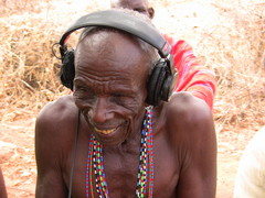 Caption: Lenkakwai Sapiyon having a listen to the recording, Credit: Elleni Stephanou